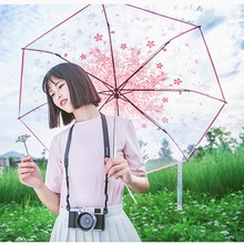 Girly Princess Rain Umbrella Cherry Blossoms Umbrellas Kids Lady Pink Flower Plastic Small Sunshade Transparent Clear Parapluie