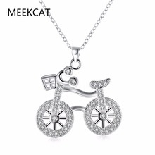 High quality 925 stamped silver plated fashion creative bicycle pendant necklace Colar de Prata With Clear CZ for women gift(China)