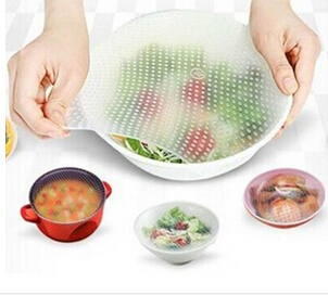 Multifunctional Food Fresh Keeping 4 pcs/lot Seal Vacuum Silicone Plastic Wrap Stretch Cling Film Lids For Bowl Cup Fruit(China)