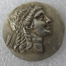 Type:#G12 Rare Large Medallic Ancient Greek Silver Tetradrachm Coin from Myrina Aeolis - 150BC Copy Coin(China)