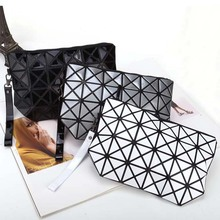 Fashion geometric triangle rhombus fold over square mosaic clutch new women solid color folding bag casual mobile phone bags(China)