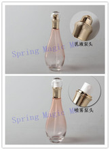 100ml light Pink Glass Emulsion bottle,Cosmetic Containers pump Lotion bottles,spray perfume Bottles,Empty Glass bottle(China)