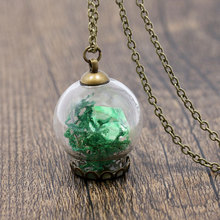 NingXiang Fashion Glass Galaxy Wishes Bottle Crystal Stone Green Flower Seagrass Women Maxi Necklace Pendant Best Wish Gift