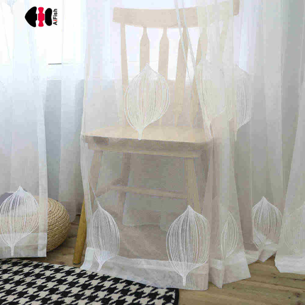 Modern White Ballon Embroidered Curtain Nets Wedding Room Study Living Room French Window Panels Cortinas WP063C