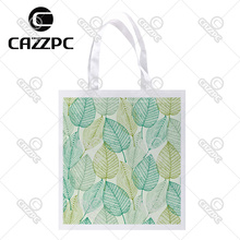 Green Leaf Art Allover repeat Pattern Print Custom individual lightweight polyester fabric Reusable Bag gift bag