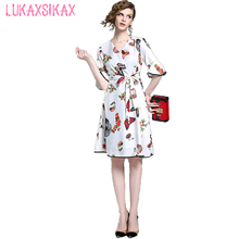 Buy 2017 Newest Fashion Cute Flowers Birds Butterfly Printed Sweet Runway Dress Women Summer V-Neck Sexy Dress Elegant Party Dresses for $25.75 in AliExpress store