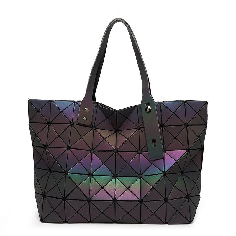 New Fashion Luminous Women Bao Bao Tote Geometry Sequins Plain Folding Bags Famous Brands Womens Handbags Ladys Shoulder Bag<br>