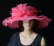 2017 NEW colour Watermelon pink Organza Hats Church Hat Formal dress Hat for kentucky derby,wedding,races,party, FREE SHIPPING