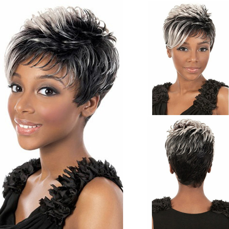 12 Ladys Grey Ombre gradient Wigs Cute Fluffy Short Curly Hair Short Black Cosplay Wig Synthetic Gradient Halloween Wigs<br><br>Aliexpress