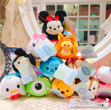Free Shipping EMS 100/Lot 12CM Mickey Minnie Stitch Daisy Bear Donald Duck Plush Coin Bag Purses Cartoon For Best Gifts