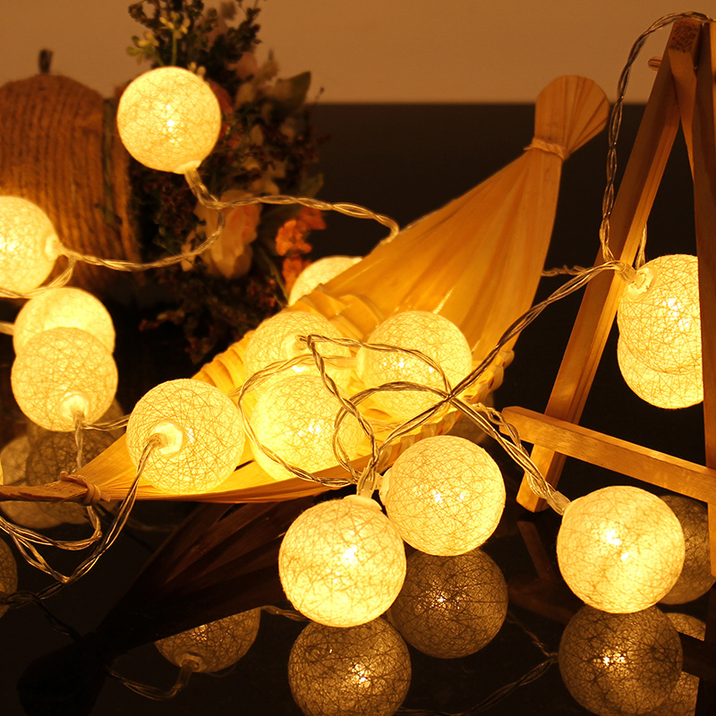 2.3 M 20 LEDs Cotton Ball String Lights Xmas Lover Wedding Party holiday Bedroom Decorations Fairy Lamp Galands Battery Operated