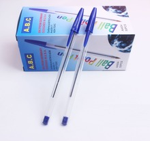 [4Y4A] 50pcs/Box Promotional ballpoint pen wholesale cheap high quality simple student ball pen Price discount free shipping(China)