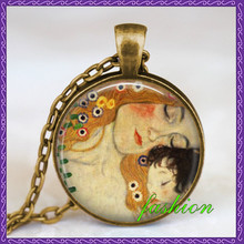 Mother child gustav klimt necklace Mother and child jewelry mothers day gift mother gift idea mom mommy pendant(China)