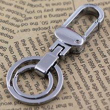 M84019 Pants Buckle Clip on Belt Polished Sliver Double Loops Keyring Keychain Car Key Chain Ring Key Fob(China)