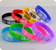 9pcs EXO Silicone Wristband Bracelets Bangle Korean S.M.Entertainment Company Mix color fashion jewelry Wholesale