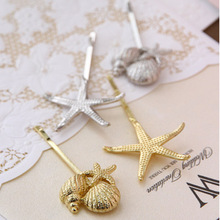 1pc Korean Stylish Retro Gold Silver Metal Shell Starfish Hairpin Side Clip Hair Accessories For Women Free Shipping