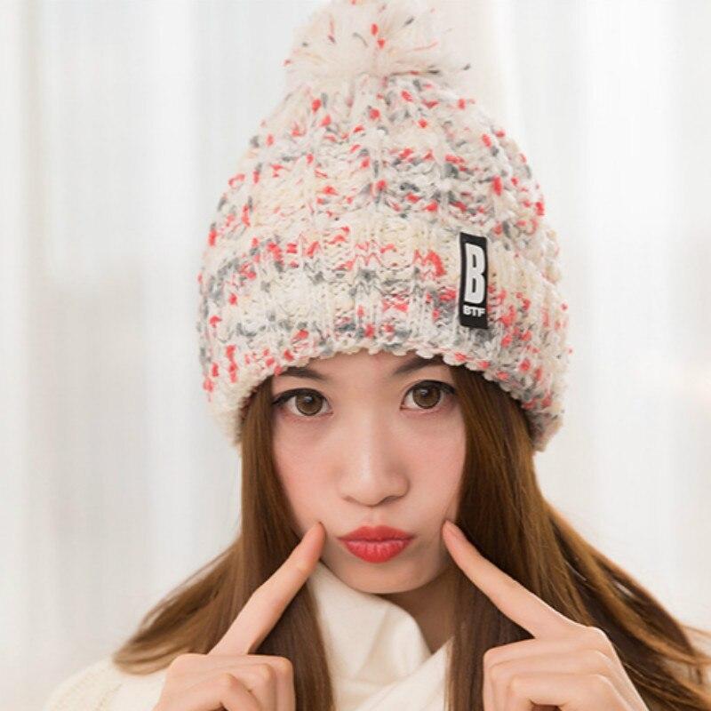 Heavy Hair Ball Earmuffs Thickening Warm Winter Hats Han Edition Mixed Color Knitting Wool Cap Female Autumn/Winter DaysÎäåæäà è àêñåññóàðû<br><br><br>Aliexpress