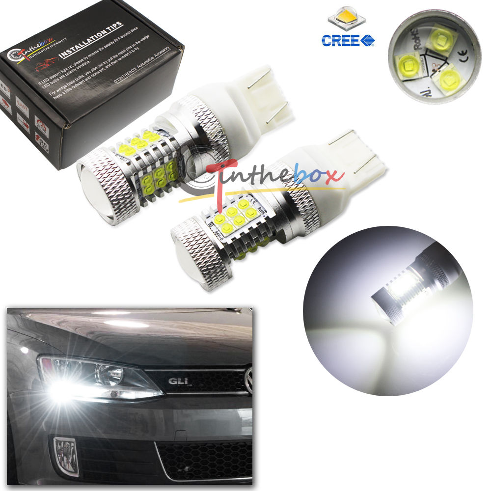2 White CAN-bus 21-CREE LED Bulbs for VW B7 Volkswagen Passat Daytime DRL Lights<br><br>Aliexpress
