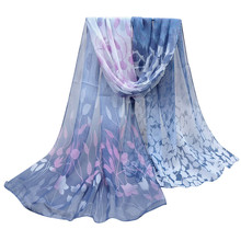 Women Design Printed Silk Soft Silk Chiffon Shawl Wrap Wraps Scarf Scarves