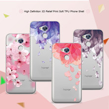 3D Relief Phone Case For Huawei Honor 6A 5.0 inch Floral Cartoon Peach Lace Soft Silicone Back Cover For Huawei Honor 6A Coque
