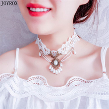 JOYROX Fashion Women Braided Imitation Pearls Lace Collar Bijou Necklace Charm Wedding Party Hollow Choker Necklace Jewellery