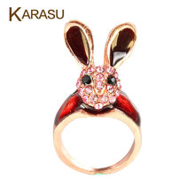 KARASU 5 piece/lot Red Vintage Full Rhinestone Long Ears Lovely Rabbit Ring For Women Fashion Jewelry Finger Rings(China)