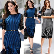 The explosion of EBAY aliexpress Europe with blue hair sexy lace dress Slim Pencil dresses hot