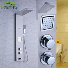 Thermostatic Shower Panel Shower Faucet Sets Rainfall Shower Head with Hand Shower Nickel Brushed
