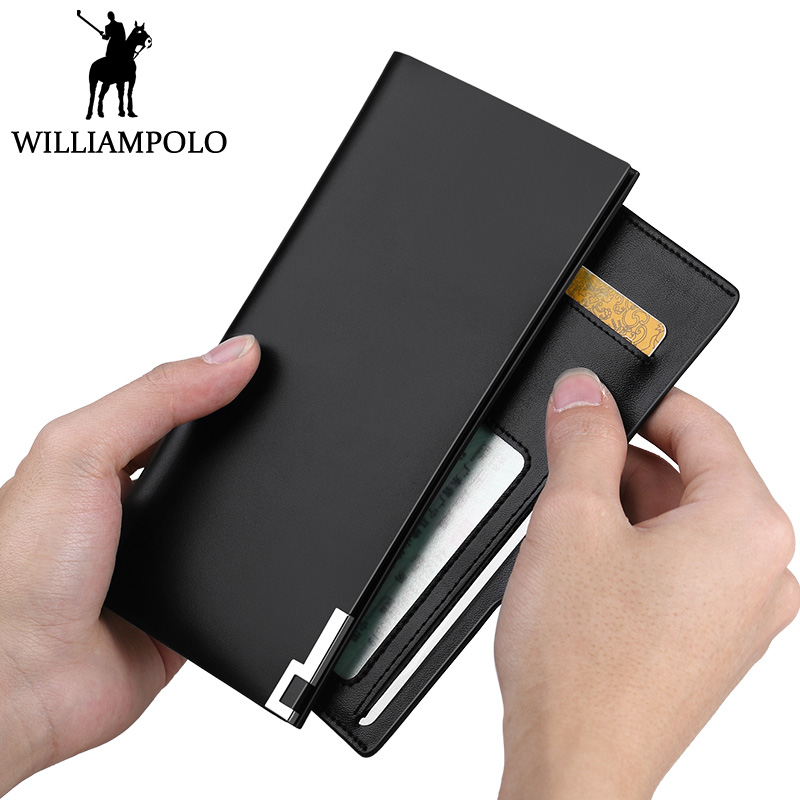 WILLIAMPOLO 2018 Business Long Wallet Men Fashion Ultra Thin Credit Card Holder Wallet Genuine Leather Male Purse Mens Gift <br>