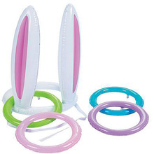 Inflatable Easter Bunny Ears Rabbit Hat Inflated Ring Toss Party Game Toy Birthday Party Favors Outdoor Fun Toys
