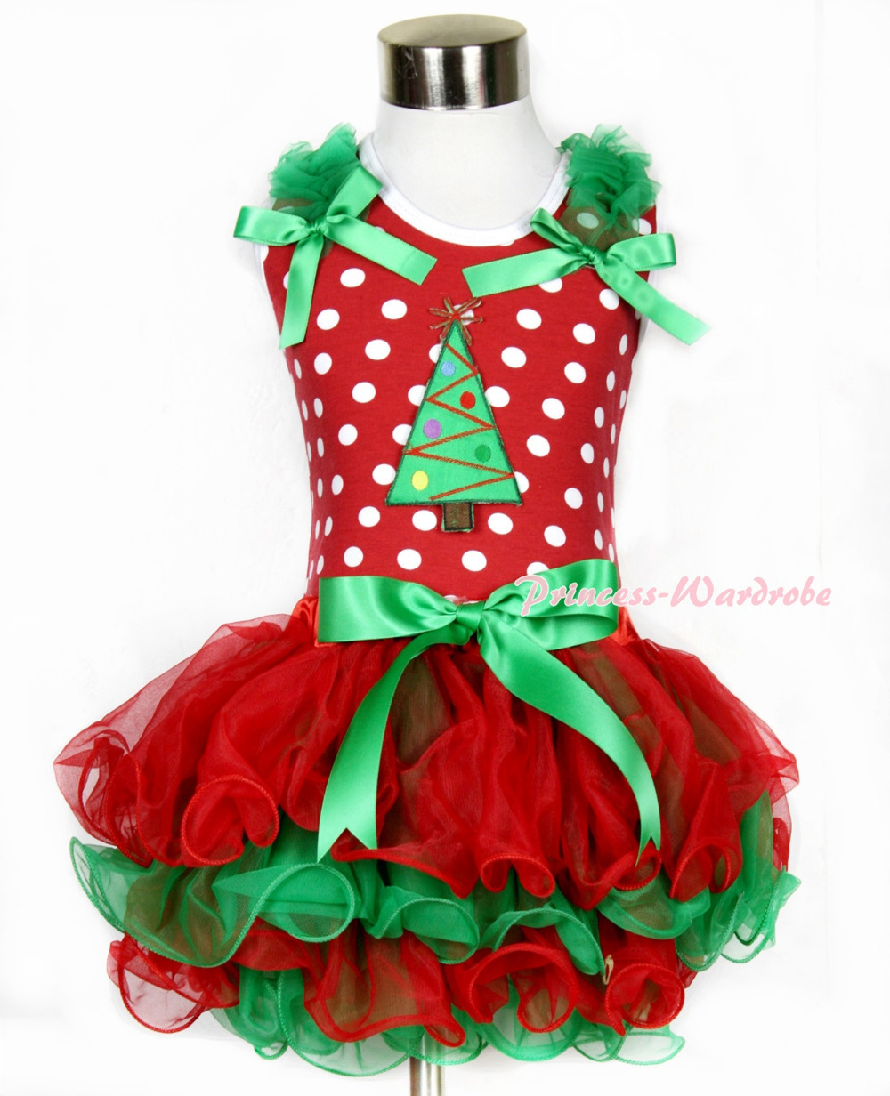 Xmas Minnie Dots Tank Top With Kelly Green Ruffles Kelly Green Bow &amp; Christmas Tree With Bow Red Green Petal Pettiskirt MAMH090<br>