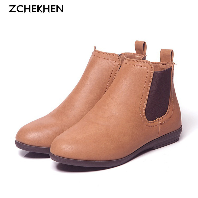 SALE Chelsea Ankle Boots Women Warm British Fashion Platform PU Motorcycle Ankle Martin Boots chaussure femme Size 8/10<br><br>Aliexpress