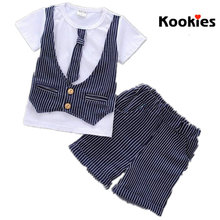 Summer 2017 New Gentleman Striped Tie Shirt + Shorts Boys Cool Clothes Suits Kids Shirts Tees Casual Short Pants Clothing KD772