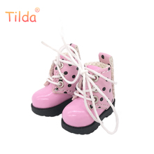 Tilda 3.2cm Doll Boots for Blythe Azone Doll Toy,1/8 Mini Lovely Leather Dots Gym Shoes for BJD Dolls Boot Shoes Accessories(China)