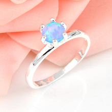 Promotion Jewelry Luckyshine Simple Design Round Blue Opal Silver Plated Wedding Rings Russia USA Holiday Australia Rings r0242