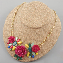 New Fashion Big Red Flower Charm Pendants Chain Crystal Choker Chunky Statement Bib Necklace Women Party Jewelry Accessories(China)