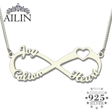 Wholesale Sterling Silver Heart Brand Infinity Necklace with Three Names Infinity Nameplate Fashion Gift for Mother(China)