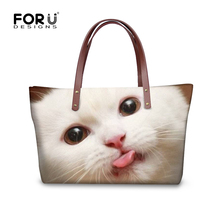 FORUDESIGNS Women Handbags Large Capacity Female Shoulder Bags Kawaii Cat Sticking Tongue Out Print Tote Bag Lady Messenger Bags