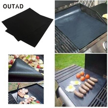 OUTAD 2PCS Reusable No Stick BBQ Grill Mat Baking Easy Clean Grilling Fried Sheet Portable Outdoor Picnic Cooking Sheets HOT!