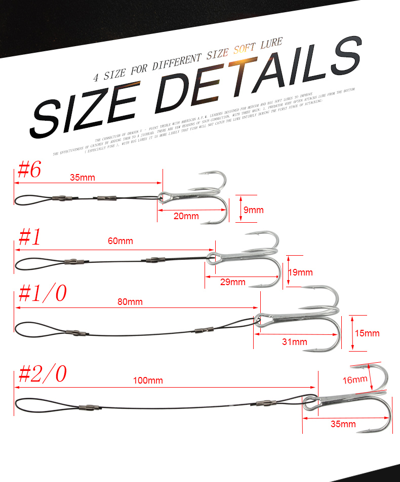RoseWood Carp Fishing Hook Size #6 #1 #10 #20 Treble Hook Fishing Line Connect Soft Baits High-Carbon Steel Fish Hook (2)