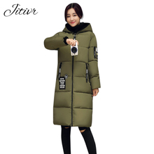 Hot sale 2017 Jitivr Women's Newest Thick Long Coat In Winter For Slim Female Letter Clothing Fashion Warm Hooded Slim Jacket