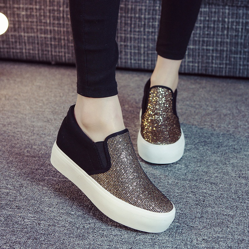 New 2017 Spring Summer Womens Flats Denim Shoes Bling Slip on Loafers Women Thick Heel Canvas Espadrilles<br><br>Aliexpress