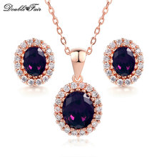 Double Fair Purple Oval Crystal Necklace Pendant & Stud Earring Rose Gold Color Cubic Zirconia Bridal Wedding Jewelry Set DFS384