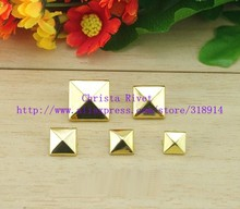Fashion 1000pcs 9mm Gold Spike Bracelet DIY Pyramid Studs Metal Prong Spots Leather Garment Accessory Free Shipping(China)