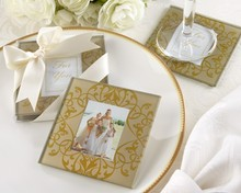 Golden Brocade Elegant Glass Photo Coasters Wedding Party Favors Stuff Supplies Two Pcs Per Set gifts Bridal gifts Baby shower