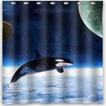 Orca Killer Whales Whale Waterproof Polyester Fabric Shower Curtain And Hooks