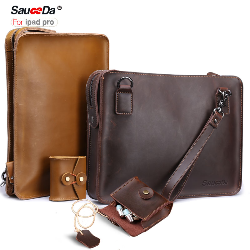 SauceDa For ipad pro 10.5 case Handmade Genuine Leather sleeve for iPad Pro 10.5 inch cover with pouch for airpods Headphones<br>