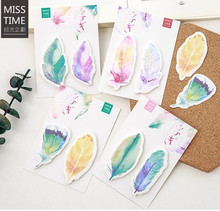 MISS TIME colors feather notepad / paper sticky message note / Memo pad