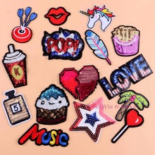 New POP Sequins Sewing Brand Patch Retro Hand Embroidery Patches Hotfix Applique Feather Hot Fix Motif DIY Clothes Stickers