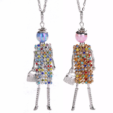 YLWHJJ brand new colorful rhinestones doll statement necklaces women princess long chain girl metal pendant hot fashion jewelry